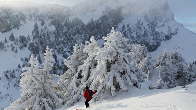 Descente a ski devant le Grand Som